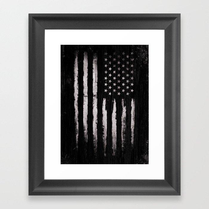 White Grunge American flag Gerahmter Kunstdruck