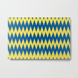 Zigzag Line Pattern Yellow and Blue Pantone's Color of the Year 2021 Illuminating and Skydiver Metal Print