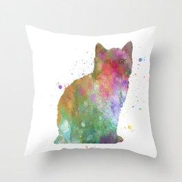 Selkirk rex cat in watercolor Throw Pillow