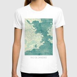 Rio de Janeiro Map Blue Vintage T-shirt