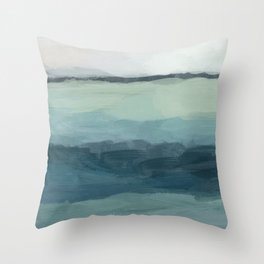 Seafoam Green Mint Navy Blue Abstract Ocean Art Painting Deko-Kissen