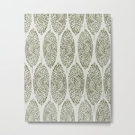 Abstract Vintage Bohemian Sage Leaves Organic Botanical Pattern, Linen Texture  Metal Print