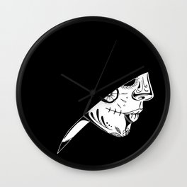 Hooded Sugar Skull Wall Clock