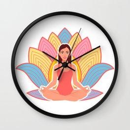 cute girl in meditation pose Wall Clock