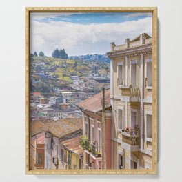 Quito Historic Center-Aerial View, Ecuador Serving Tray