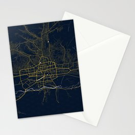 Ulaanbaatar City Map of Mongolia - Gold Art Deco Stationery Cards