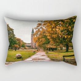 Digital Painting of Autumn in King's Garden in front of Rosenborg Castle of Copenhagen, Denmark Rectangular Pillow