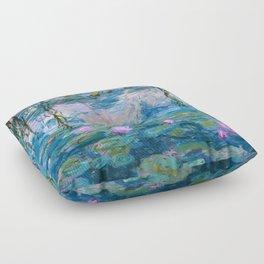 Water Lilies Monet Teal Floor Pillow