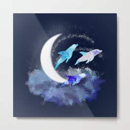 Dolphins in the moonlight Metal Print