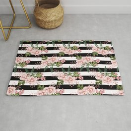 Black & White Stripes With Blush Flowers Rug