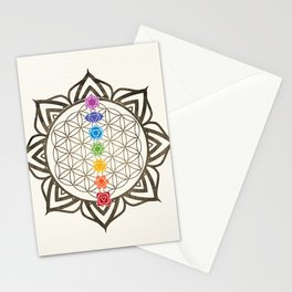 Flower of Life Chakra Healing Mandala Stationery Cards