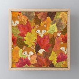 Foxes Hiding in the Fall Leaves - Autumn Fox Framed Mini Art Print