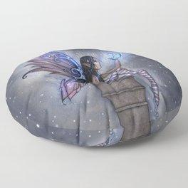 Little Blue Moon Fairy Art by Molly Harrison Floor Pillow