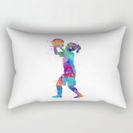 Girl Basketball Player Art Colorful Watercolor Sports Art Gift for Children Basketball Kid Rectangular Pillow