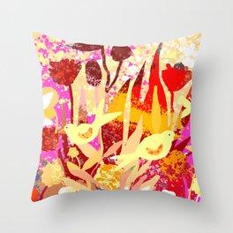 Birds In Garden Throw Pillow