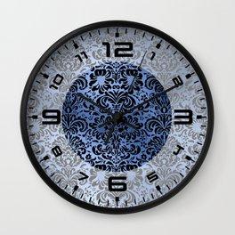 Classic Blue Swirls Damask 4 Wall Clock
