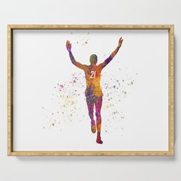 Athlete competing winner in watercolor Serving Tray