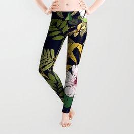 Tropical Island Oasis Floral Pattern Leggings