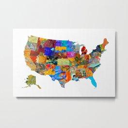 USA Map Metal Print