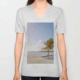 Cancun beach ocean palm trees chaise lounges Riviera Mexico Unisex V-Neck