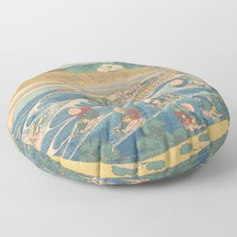 Fuji Seen from Kanaya on the Tōkaidō, Series Thirty-six Views of Mount Fuji by Katsushika Hokusai Floor Pillow