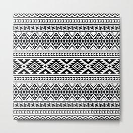 Black and White Boho Pattern  Metal Print