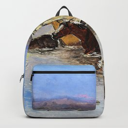 Crossing the River - Charles Marion Russell Backpack