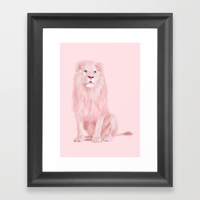 PINK LION Gerahmter Kunstdruck
