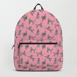 Gray Poodles Pattern (Pink Background) Backpack