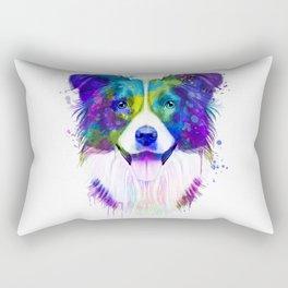 Border Collie watercolor, Watercolor Border Collie, Watercolor dog, Border Collie portrait Rectangular Pillow
