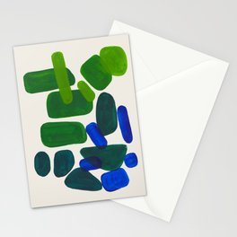 Minimalist Modern Mid Century Colorful Abstract Shapes Phthalo Blue Lime Green Gradient Overlapping Stationery Cards