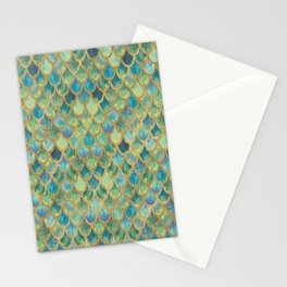 Mermaid Scales (green) Stationery Cards