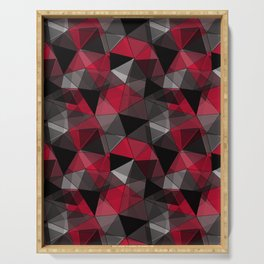 Abstract polygonal pattern.Red, black, grey triangles. Serving Tray