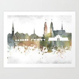 Zurich Greenish Skyline Art Print