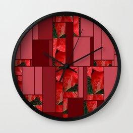 Mottled Red Poinsettia 1 Ephemeral Art Rectangles 8 Wall Clock