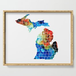 Michigan State Map - Counties by Sharon Cummings Serving Tray