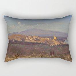 """Jean-Baptiste-Camille Corot """"Villeneuve-les-Avignon"""" Rectangular Pillow"""