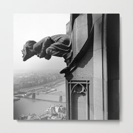 Gargoyle over looking the Main River, Frankfurt, Germany black and white photograph - photography by Karl Lämmel Metal Print