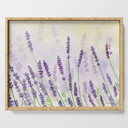 Lavender Flowers Watercolor Serving Tray