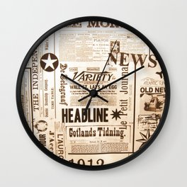 Vintage Newspaper Ads Black and White Typography Wall Clock
