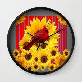 YELLOW SUNFLOWERS RED CARDINAL GREY  ART Wall Clock