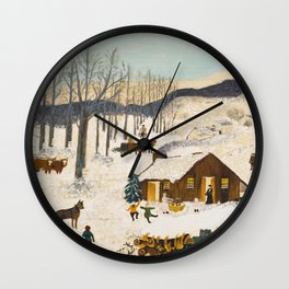 Anna Mary Robertson 'Grandma' Moses Sugaring Off American Folk Art Wall Clock