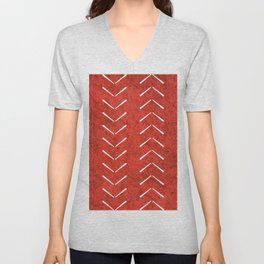 Red And White Big Arrows Mud cloth Unisex V-Neck