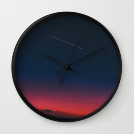 Pink Purple & Navy blue Sunset With Shooting Star Wall Clock