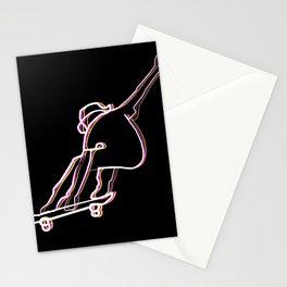 skater illustration, skateboard one liner outline drawing black Stationery Cards