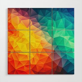 Abstract Polygon Multi Color Cubism Low Poly Triangle Design Wood Wall Art