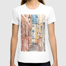 Street in Italy. Watercolor illustration T-shirt