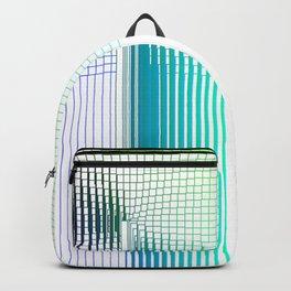 Blue Green Purple Thread Gradient Gridlines Backpack