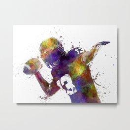 american football player quarterback passing portrait silhouette Metal Print