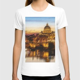 Twilight in Rome, Italy Landscape by Jeanpaul Ferro T-shirt